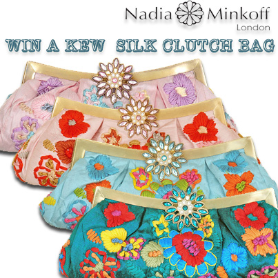 Win a Nadia Minkoff London, embroidered Kew silk clutch