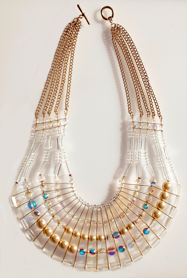 statement bib in crystal and pearl