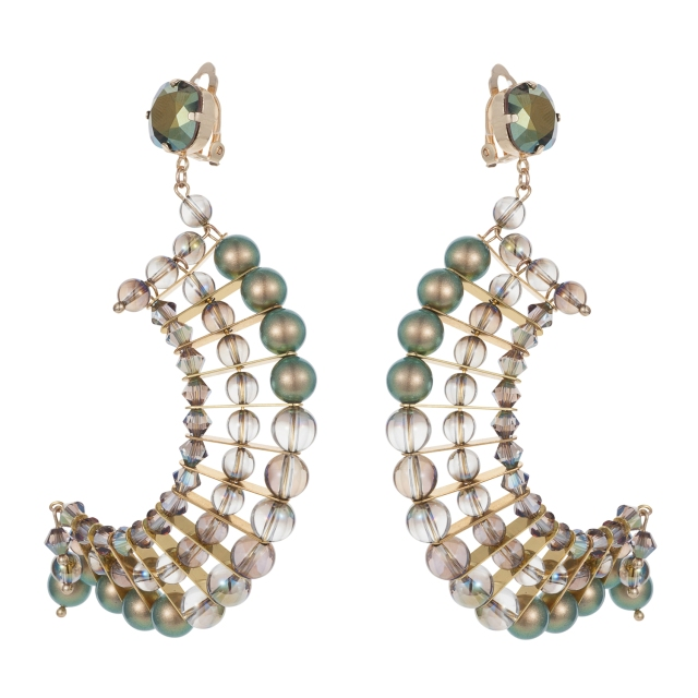 Semi crescent earrings- Iridescent green 2