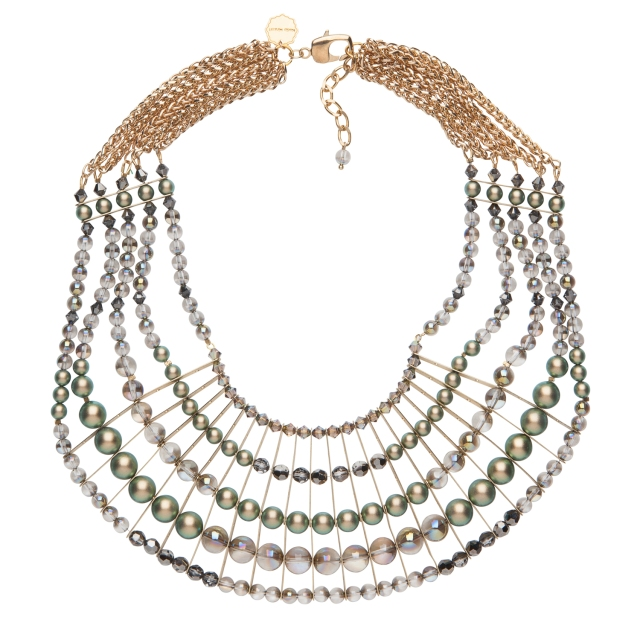 Statement bib necklace- iridescent green