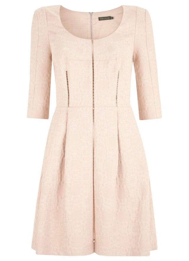 Shell-pink-jacquard-dress,-mint-velvet
