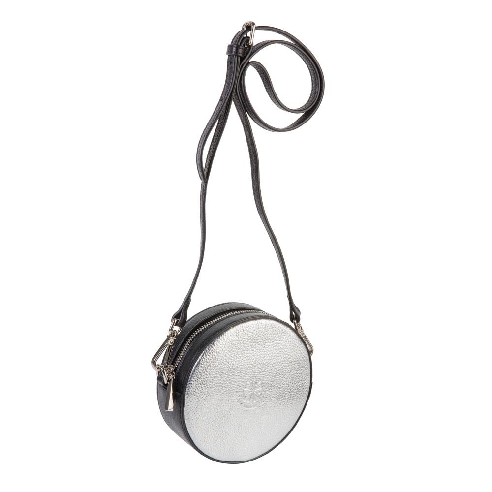 Full circle belt-shoulder bag silver black