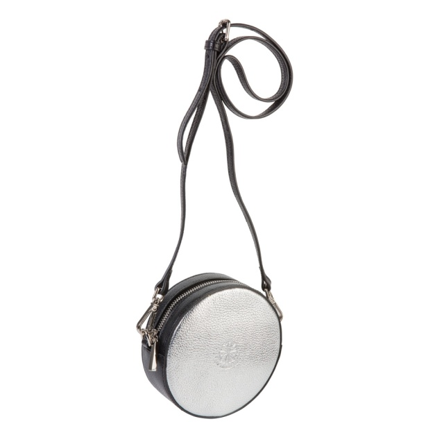 Full circle belt-shoulder bag silver black